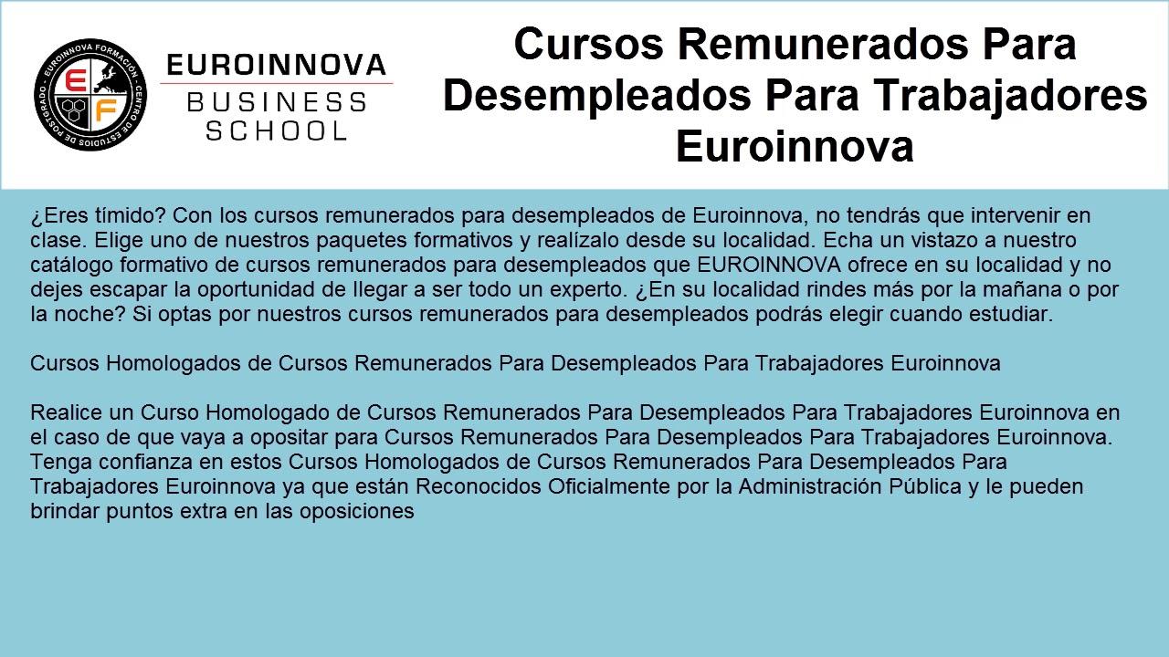 Cursos Remunerados Para Desempleados Web Oficial Euroinnova