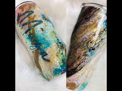 Embedded Opal Glitter Tumbler