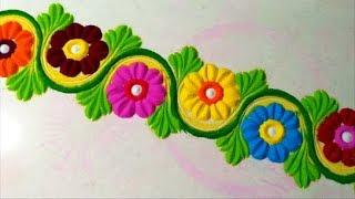 Very easy beautiful border rangoli design.
