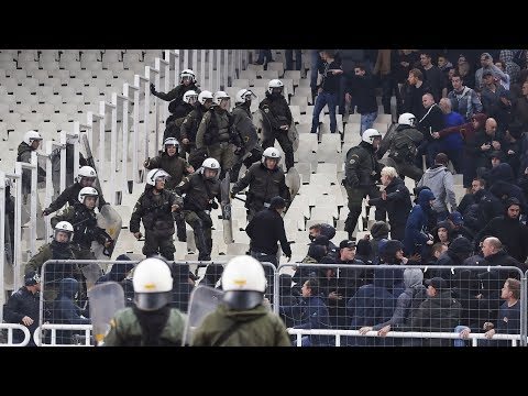 Bomb Explodes as AEK and Ajax Fans Scuffle