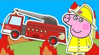 Свинка Пеппа становится пожарником Свинка Пеппа и Пожарная машина Мультики про машинки