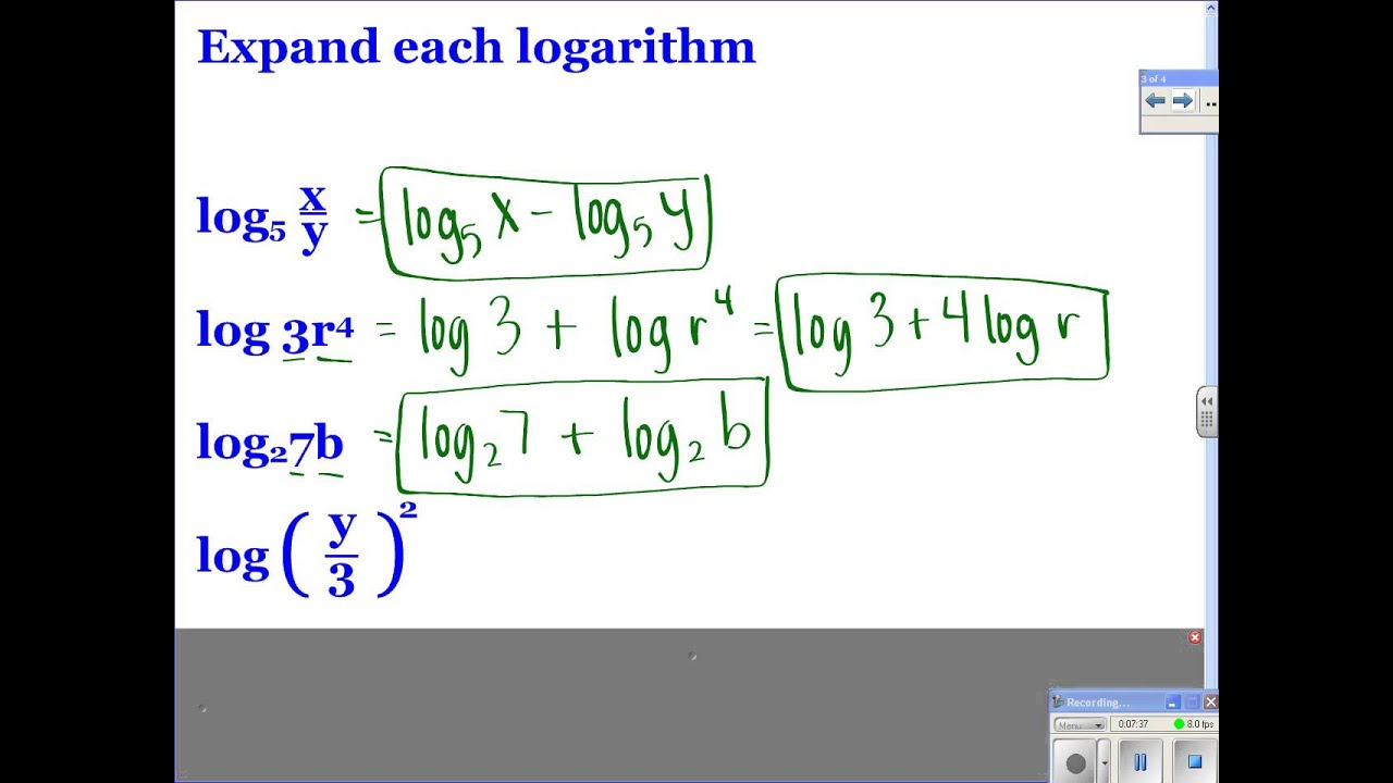 Worksheets Properties Of Logarithms Worksheet algebra ii 8 5 properties of logarithms youtube