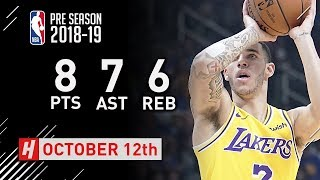 Lonzo Ball Full Highlights Lakers vs Warriors - 2018.10.12 - 8 Pts, 7 Ast, 6 Rebounds!