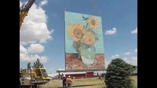 Kansas Big Easel Canvas being lowered
