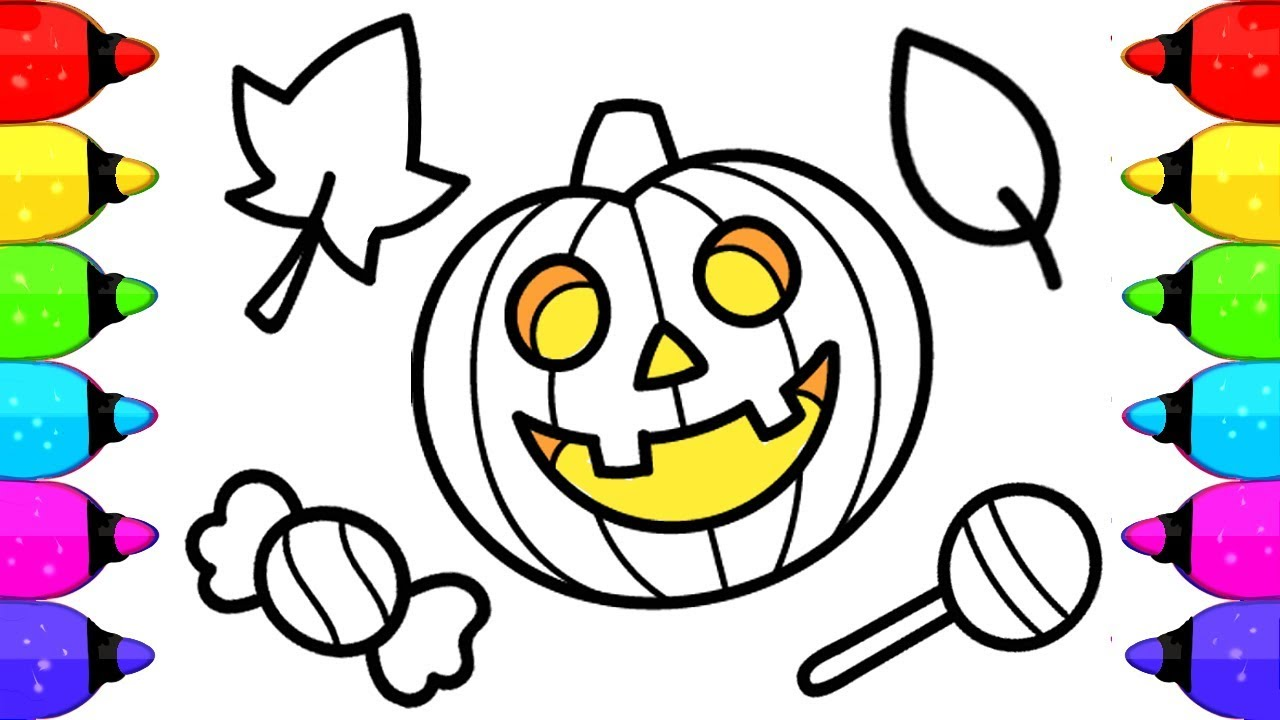 Halloween Pumpkin Coloring Book Pages For Kids How To Draw And Color Pumpkin Halloween Youtube