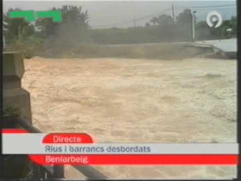 RTVV   Fragment Notícies 9 sobre inundacions cau el pont de Beniarbeig