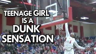 "6'1"" TEENAGE GIRL IS A DUNK SENSATION! 17 Year old Fran Belibi THROWING DOWN in GAMES! Video"