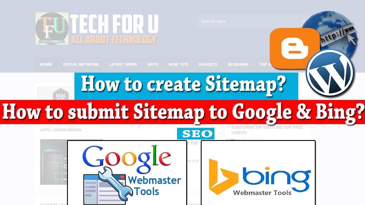 how to create a sitemap for website submit to google bing how