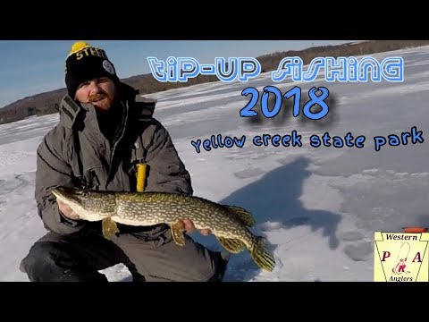 TIP-UP FISHING YELLOW CREEK STATE PARK 2018 FOR NOTHERN PIKE