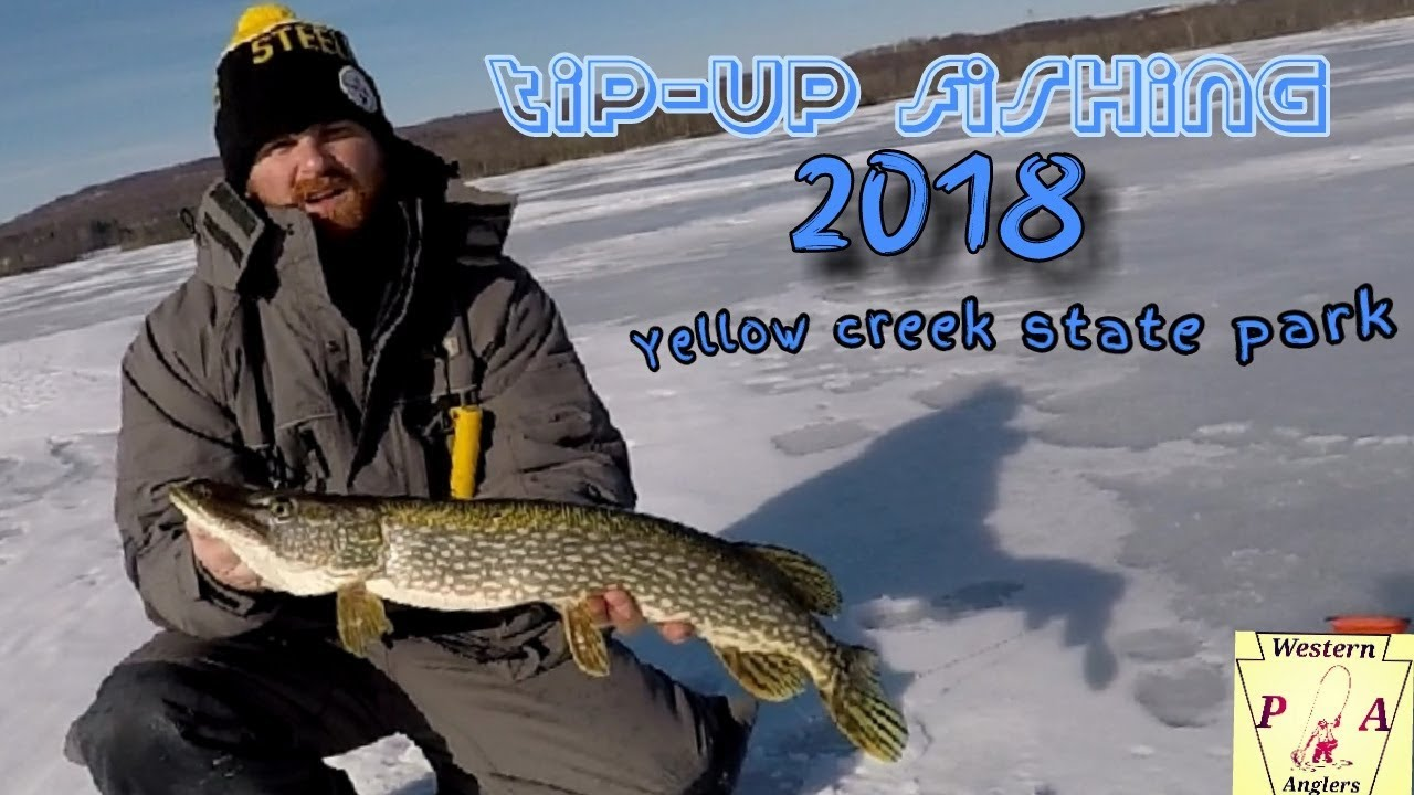 Tip up fishing yellow creek state park 2018 for nothern for Ice fishing indiana