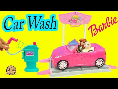 Thumbnail: Disney Queen Elsa & Princess Anna Go to Barbie Malibu Car Wash - Water Play Toy Video Cookieswirlc