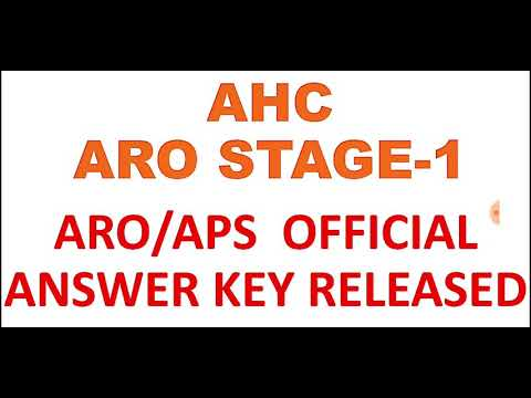AHC ARO/APS OFFICIAL ANSWER KEY RELEASED