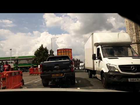 Royal Tunbridge Wells UK drive thru street scenes and hooligans on bikes
