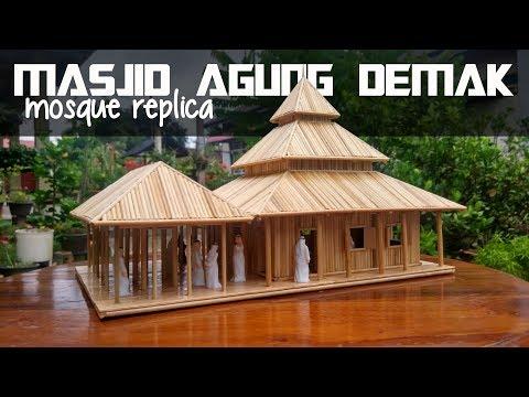 Replika || Miniatur MASJID AGUNG DEMAK  - Bamboo Stick Miniature Mosque