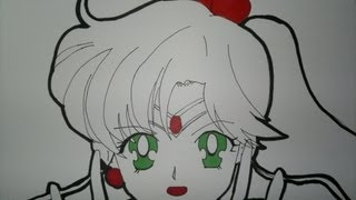 Drawing Sailor Jupiter Slow Motion.セーラージュピターを描画する方法.