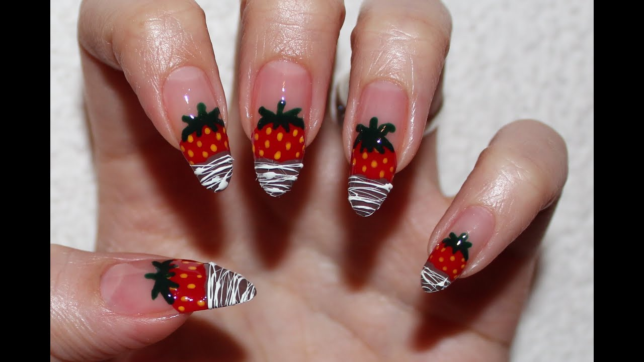 Chocolate Dipped Strawberries Nail Art - YouTube