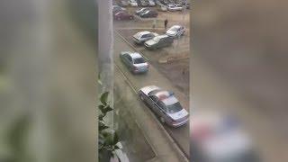 Очень медленная погоня ГАИ по двору. Real video