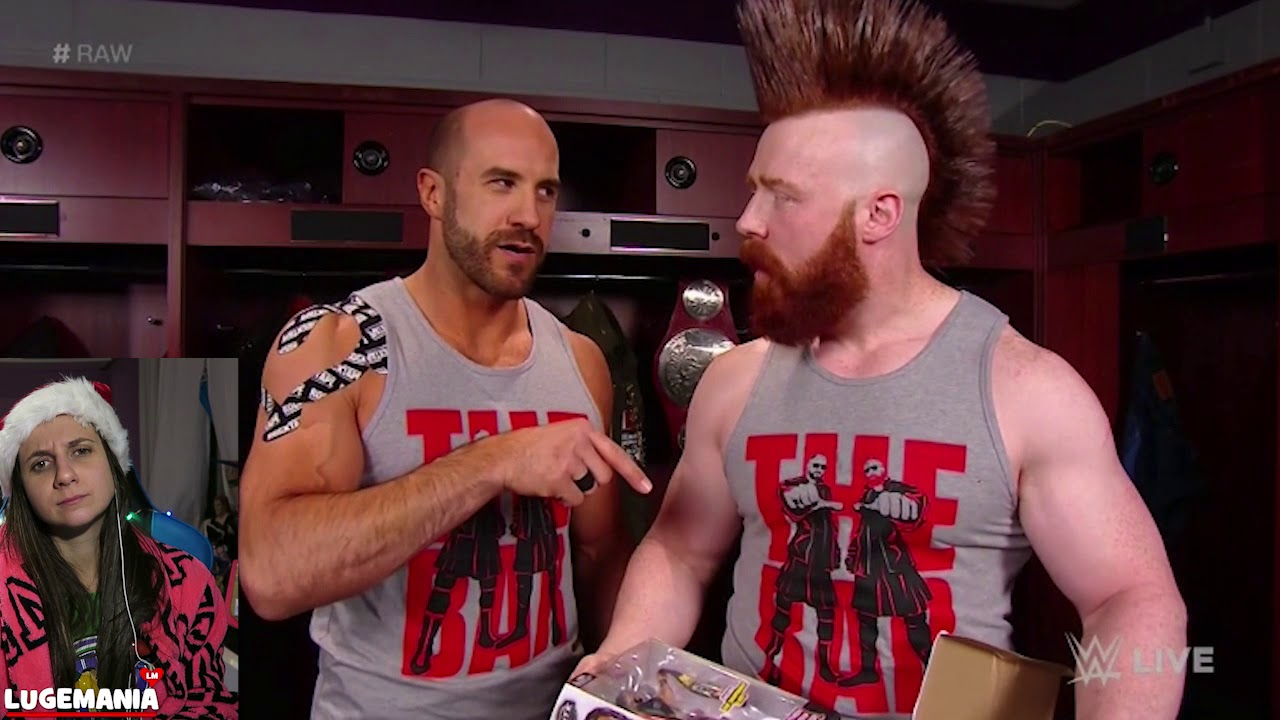 WWE Christmas Raw 2017 The Bar exchanges gifts backstage - YouTube