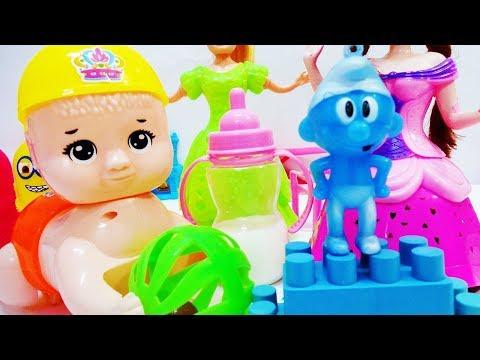 لعبة سنفور وبيبي حازم بيعيط على الكورة وياخد الرضعة وينام قصص للاطفال البنات والأولاد