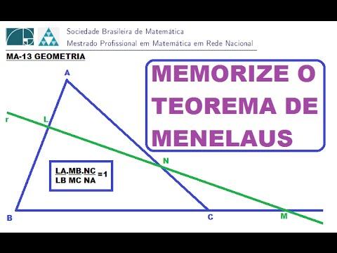 (PROFMAT-MA13)  TEOREMA DE MENELAUS COMO MEMORIZAR E UTILIZAR