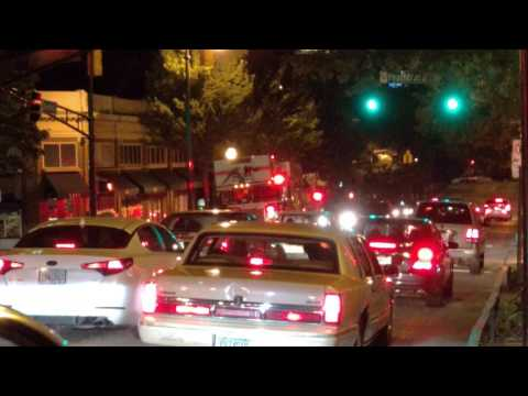 Atlanta City Firefighter at night on Peachtree Street