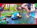 MONSTER TRUCKS For Kids BACKYARD WATERPARK!