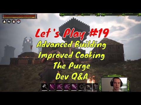 Let's Play Conan Exiles PvP #19 - Building, Support Beams FTW, Trebuchet, Cooking, Purge, Dev Q&A