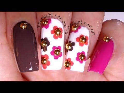Floral Dotting Tool Design: Brown, Pink and Orange Tutorial – by Moonlight Nail Art thumbnail