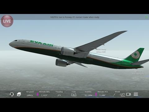 Flight Simulators broadcast. EVA Airlines Boeing-787-10/Takeoff From San Diego IntI KSAN to KPSP .