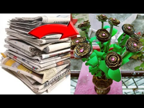 How to make a beautiful rose flower with newspaper || newspaper crafts ideas