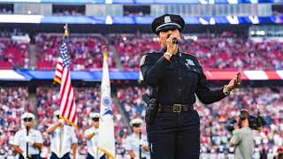 Boston police officer sings national anthem at Gillette Stadium pre-season opener
