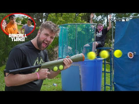 Challenging TWINS to DUNK TANK Trick Shot Battle!