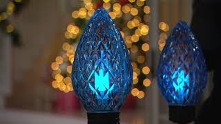 Kringle Express Set of 4 LED Faceted C9 Dancing Pathway Lights on QVC