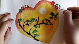 Love Birds With Moonlight Painting Tutorial | Heart Drawing | Valentine Card Series