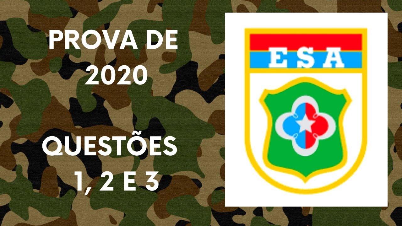 Questões 1, 2 e 3 da Prova da EsA 2020/2021 - Prova Modelo ...