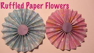 Ruffled Scrapbook Paper Flowers Craft Tutorial