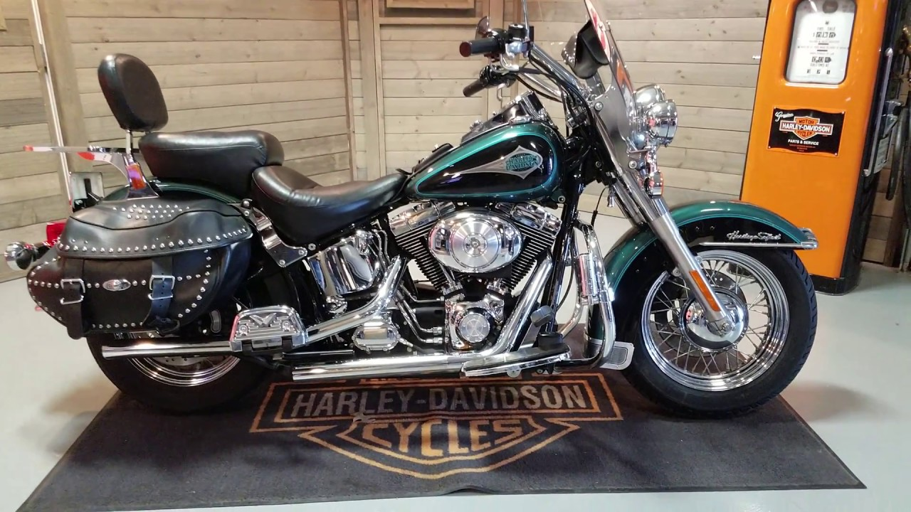SOLD! 2000 Softail Heritage Classic FLSTC in suede green & black
