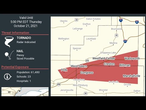 Tornado Warning issued for Stark, Portage counties