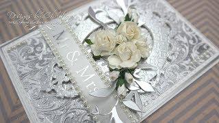 Silver Embossed Wedding Card