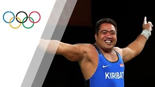Katoatau fails his last weightlifting attempt but celebrates with a dance
