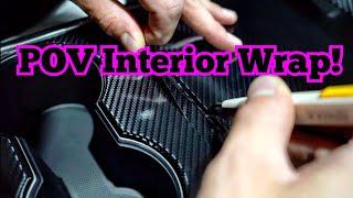 POV Gloss Carbon Fiḃer Interior Wrap - How to wrap your interior Tesla Model 3