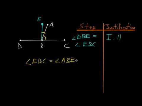 Euclid's Elements Book 1: Proposition 13, Angles Formed By A Straight Line