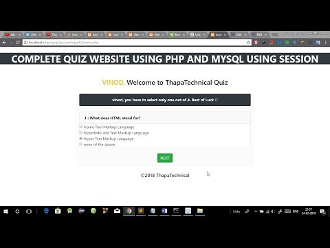 create an online quiz website using php and mysql [Complete project with Source Code]