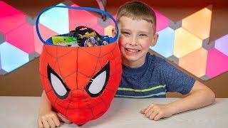 HUGE Spider-Man Bucket Surprise Eggs Blind Bags Spiderman Superhero Toys for Boys Kinder Playtime