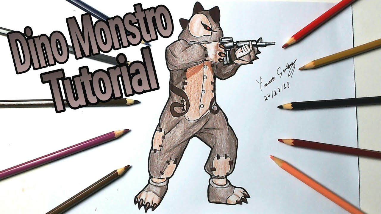 Videos De Dibujos De Free Fire: COMO DESENHAR A SKIN DO DINO MONSTRO FRRE FIRE