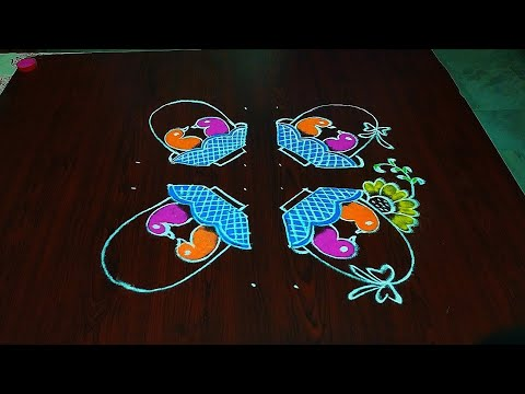 Love Birds Rangoli//8-2 Dots//simple And Easy Only