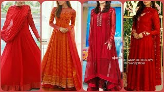 Red colour stylish dresses design ideas for girls/formal party wear dresses design