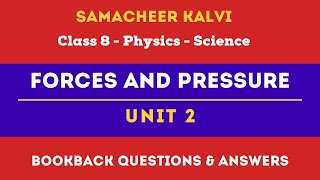Forces and Pressure Book Back Answers  Unit 2   Class 8th  Physics  Science  Samacheer Kalvi