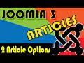 Joomla 3 Tutorials: Article Options - Global settings
