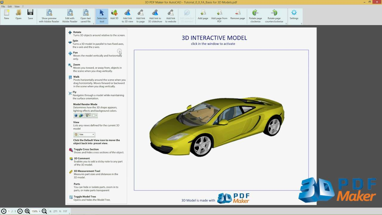 3D PDF Maker for AutoCAD Tutorial 1  Insert AutoCAD 3D Models in PDF Files